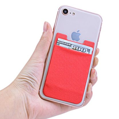 Cell Phone Wallet by Wolait, Lycra 2-Pack Universal Phone Card Holder with 3M Sticker for iPhone, LG, Samsung, and most of small phone &case (Red) 2