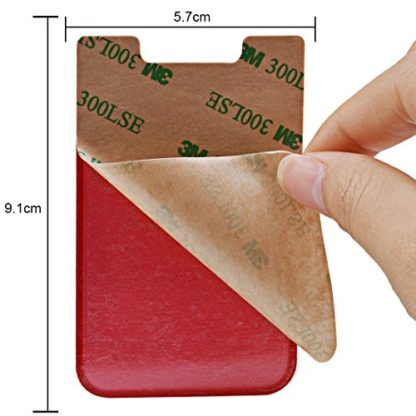 Cell Phone Wallet by Wolait, Lycra 2-Pack Universal Phone Card Holder with 3M Sticker for iPhone, LG, Samsung, and most of small phone &case (Red) 4