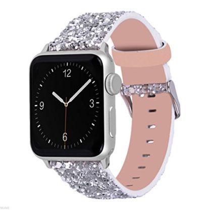 Glitter Apple watch band, Wolait Luxury PU Leather Wristband Replacement Strap for Apple Watch Series 3/2/1 (42mm Sliver) 1