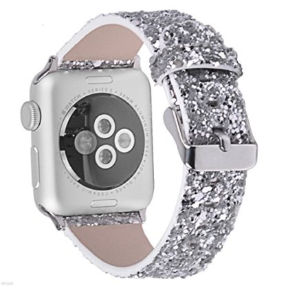 Glitter Apple watch band, Wolait Luxury PU Leather Wristband Replacement Strap for Apple Watch Series 3/2/1 (42mm Sliver) 2