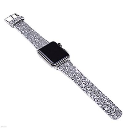 Glitter Apple watch band, Wolait Luxury PU Leather Wristband Replacement Strap for Apple Watch Series 3/2/1 (42mm Sliver) 4