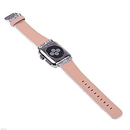 Glitter Apple watch band, Wolait Luxury PU Leather Wristband Replacement Strap for Apple Watch Series 3/2/1 (42mm Sliver) 5