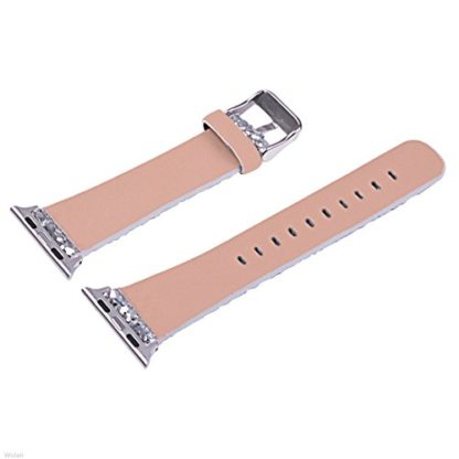 Glitter Apple watch band, Wolait Luxury PU Leather Wristband Replacement Strap for Apple Watch Series 3/2/1 (42mm Sliver) 7