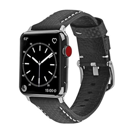 Apple Watch Series 3 Band, Wolait 42mm Black Carbon Fiber Wrist Watch Belt Strap with White Stitching for Apple Watch Series 3/2/1 … 1