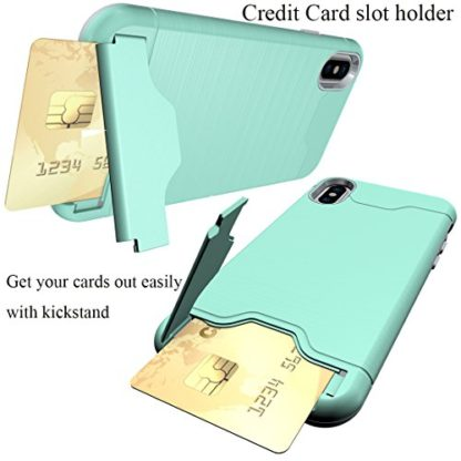 iPhone X Case, Wolait Credit ID Card Slot Holder Wallet Case with Kickstand for Apple iPhone X (Aqua) 2