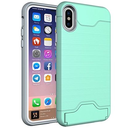 iPhone X Case, Wolait Credit ID Card Slot Holder Wallet Case with Kickstand for Apple iPhone X (Aqua) 1