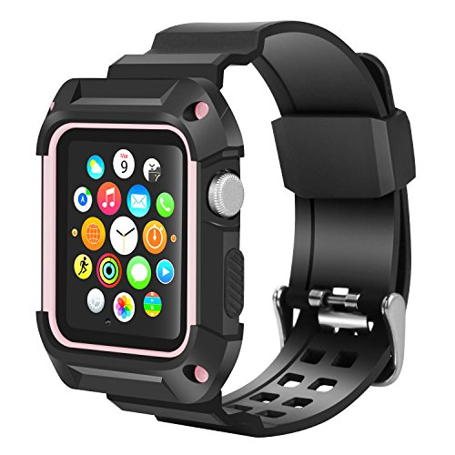 huge discount eabfe 396a6 Apple Watch Band 42mm, Wolait Rugged Protective Frame iWatch Case with Band  Strap for Apple Watch Series 3/2/1 - Black/Pink