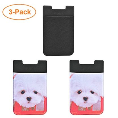 Cell Phone Wallet by Wolait, Lycra 3-Pack Universal Phone Card Holder with 3M Sticker for iPhone, LG, Samsung, and most of small phone &case -Cute Dog 2