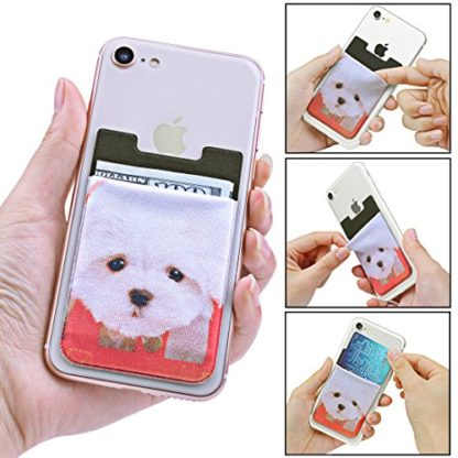 Cell Phone Wallet by Wolait, Lycra 3-Pack Universal Phone Card Holder with 3M Sticker for iPhone, LG, Samsung, and most of small phone &case -Cute Dog 3