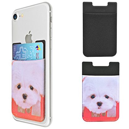 Cell Phone Wallet by Wolait, Lycra 3-Pack Universal Phone Card Holder with 3M Sticker for iPhone, LG, Samsung, and most of small phone &case -Cute Dog 1
