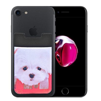 Cell Phone Wallet by Wolait, Lycra 3-Pack Universal Phone Card Holder with 3M Sticker for iPhone, LG, Samsung, and most of small phone &case -Cute Dog 6