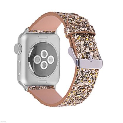 Glitter Apple watch band, Wolait Luxury PU Leather Wristband Replacement Strap for Apple Watch Series 3/2/1 (38mm Gold) 3