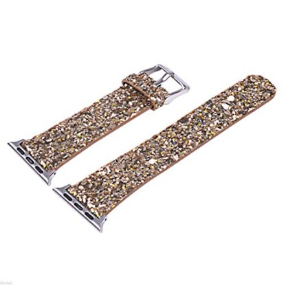 Glitter Apple watch band, Wolait Luxury PU Leather Wristband Replacement Strap for Apple Watch Series 3/2/1 (38mm Gold) 6