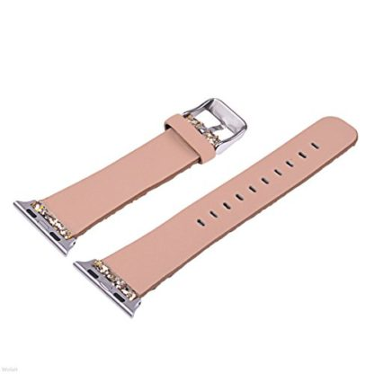 Glitter Apple watch band, Wolait Luxury PU Leather Wristband Replacement Strap for Apple Watch Series 3/2/1 (38mm Gold) 7