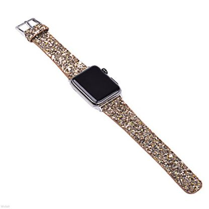 Glitter Apple watch band, Wolait Luxury PU Leather Wristband Replacement Strap for Apple Watch Series 3/2/1 (38mm Gold) 2