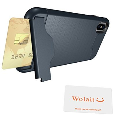 iPhone X Case, Wolait Credit ID Card Slot Holder Wallet Case with Kickstand for Apple iPhone X (Navy) 7