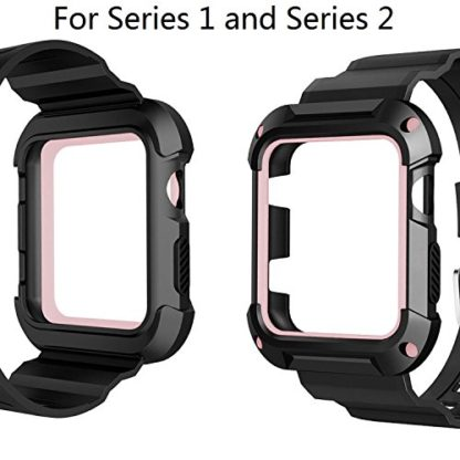 Apple Watch Band 42mm, Wolait Rugged Protective Frame iWatch Case with Band Strap for Apple Watch Series 3/2/1 - Black/Pink 4
