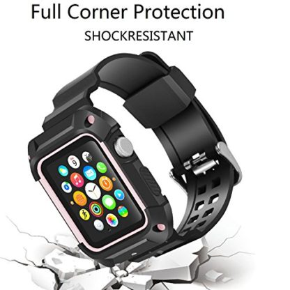 Apple Watch Band 42mm, Wolait Rugged Protective Frame iWatch Case with Band Strap for Apple Watch Series 3/2/1 - Black/Pink 5