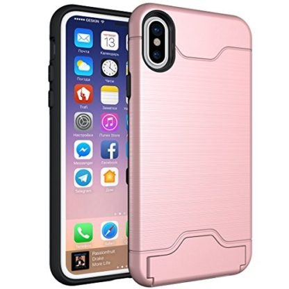 iPhone X Case, Wolait Credit ID Card Slot Holder Wallet Case with Kickstand for Apple iPhone X(Rose Gold) 1
