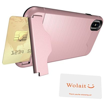 iPhone X Case, Wolait Credit ID Card Slot Holder Wallet Case with Kickstand for Apple iPhone X(Rose Gold) 7