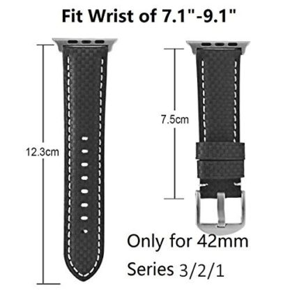 Apple Watch Series 3 Band, Wolait 42mm Black Carbon Fiber Wrist Watch Belt Strap with White Stitching for Apple Watch Series 3/2/1 … 3