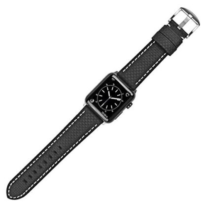 Apple Watch Series 3 Band, Wolait 42mm Black Carbon Fiber Wrist Watch Belt Strap with White Stitching for Apple Watch Series 3/2/1 … 4