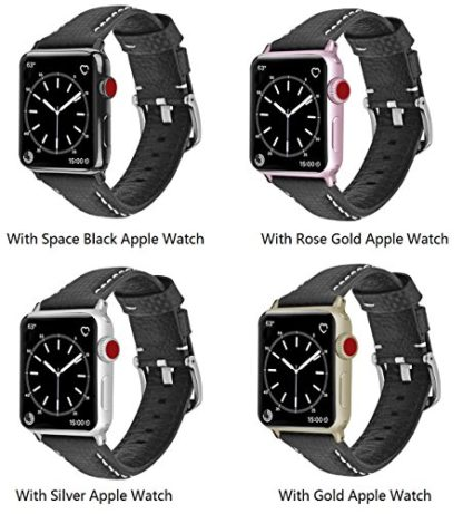 Apple Watch Series 3 Band, Wolait 42mm Black Carbon Fiber Wrist Watch Belt Strap with White Stitching for Apple Watch Series 3/2/1 … 6