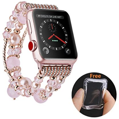 Wolait Compatible for iWatch Bracelet, Luxury Faux Pearl Elastic Stretch Bracelet for Series 4,Series 3, Series 2, Series 1(42mm/44mm Pink) 1