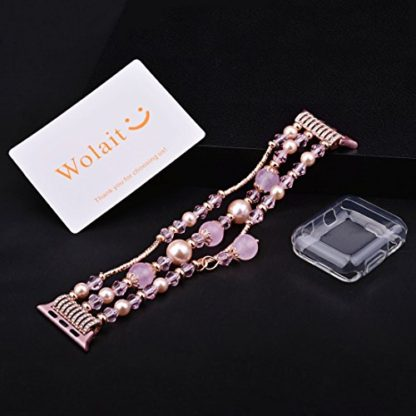 Wolait Compatible for iWatch Bracelet, Luxury Faux Pearl Elastic Stretch Bracelet for Series4, Series 3, Series 2, Series 1(42mm /44mm Pink ) 2