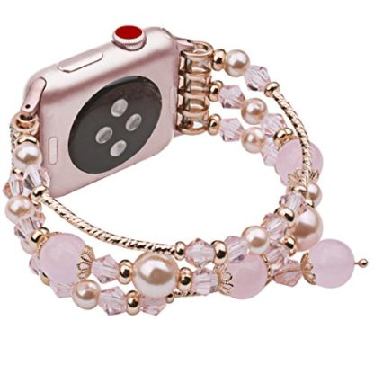 Wolait Compatible for iWatch Bracelet, Luxury Faux Pearl Elastic Stretch Bracelet for Series 4,Series 3, Series 2, Series 1(42mm/44mm Pink) 4