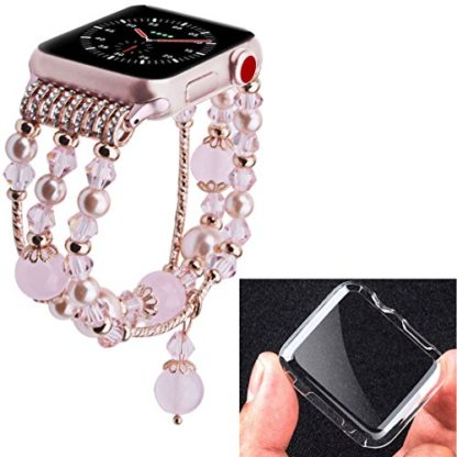 Wolait Compatible for iWatch Bracelet, Luxury Faux Pearl Elastic Stretch Bracelet for Series 4,Series 3, Series 2, Series 1(38mm/40mm Pink) 5