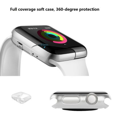 Wolait Compatible with Apple Watch Case, Clear Soft TPU Case with Built-in Screen Protector for 38mm Series 3 Series 2 Series 1[2pack] 2