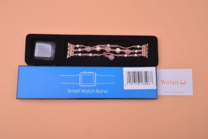 Wolait Compatible for iWatch Bracelet, Luxury Faux Pearl Elastic Stretch Bracelet for Series4, Series 3, Series 2, Series 1(42mm /44mm Pink ) 8