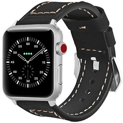 Wolait Compatible with Apple Watch Series 4, Handcrafed Genuine Calf Leather Sports Band for Apple Watch Series 4/3/2/1(42mm/44mm Black) 1
