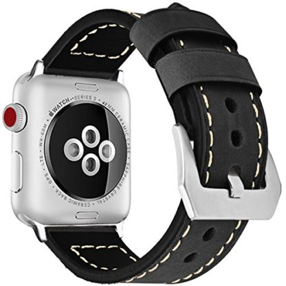 Wolait Compatible with Apple Watch Series 4, Handcrafed Genuine Calf Leather Sports Band for Apple Watch Series 4/3/2/1(42mm/44mm Black) 2