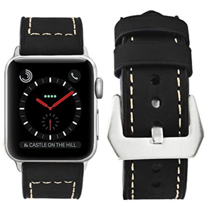 Wolait Compatible with Apple Watch Series 4, Handcrafed Genuine Calf Leather Sports Band for Apple Watch Series 4/3/2/1(42mm/44mm Black) 3