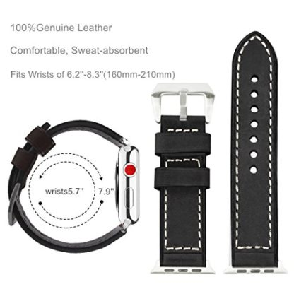 Wolait Compatible with Apple Watch Series 4, Handcrafed Genuine Calf Leather Sports Band for Apple Watch Series 4/3/2/1(42mm/44mm Black) 4