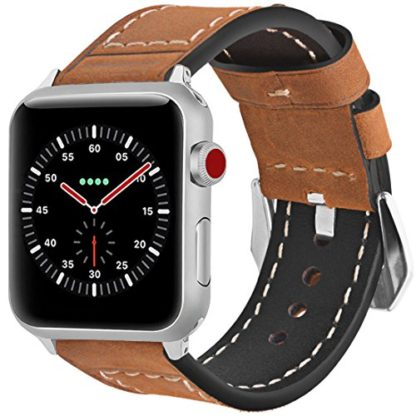 Wolait Compatible with Apple Watch Series 4, Handcrafed Genuine Calf Leather Sports Band for Apple Watch Series 4/3/2/1(38mm/40mm Brown) 1
