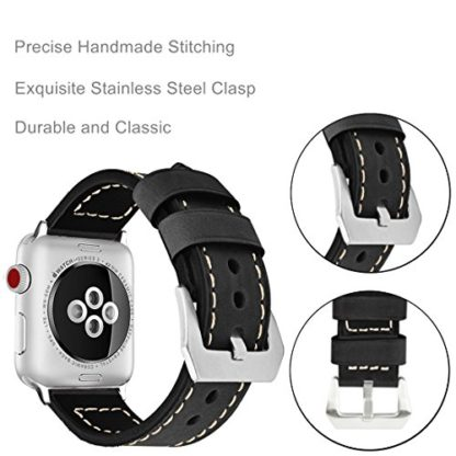 Wolait Compatible with Apple Watch Series 4, Handcrafed Genuine Calf Leather Sports Band for Apple Watch Series 4/3/2/1(42mm/44mm Black) 5