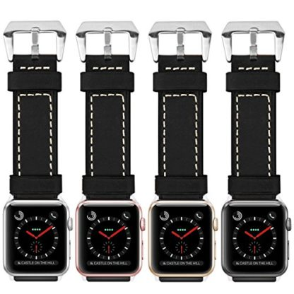Wolait Compatible with Apple Watch Series 4, Handcrafed Genuine Calf Leather Sports Band for Apple Watch Series 4/3/2/1(42mm/44mm Black) 7