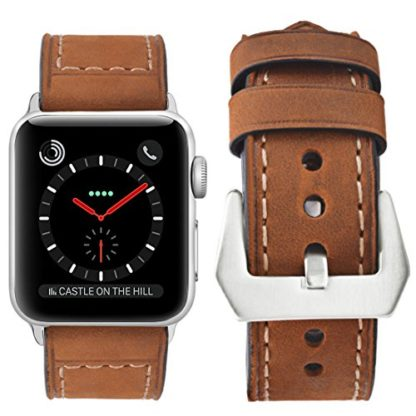Wolait Compatible with Apple Watch Series 4, Handcrafed Genuine Calf Leather Sports Band for Apple Watch Series 4/3/2/1(38mm/40mm Brown) 2