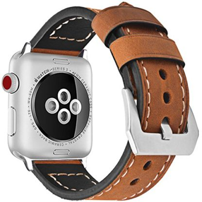 Wolait Compatible with Apple Watch Series 4, Handcrafed Genuine Calf Leather Sports Band for Apple Watch Series 4/3/2/1(38mm/40mm Brown) 3