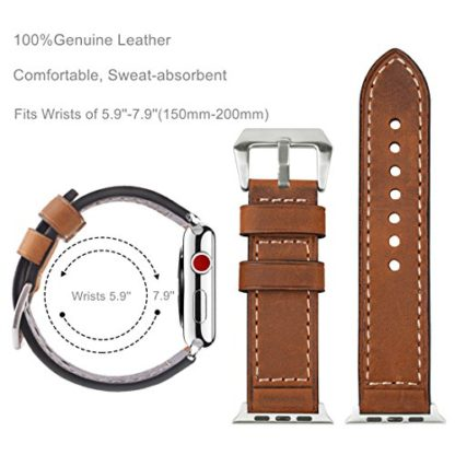 Wolait Compatible with Apple Watch Series 4, Handcrafed Genuine Calf Leather Sports Band for Apple Watch Series 4/3/2/1(38mm/40mm Brown) 4
