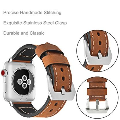 Wolait Compatible with Apple Watch Series 4, Handcrafed Genuine Calf Leather Sports Band for Apple Watch Series 4/3/2/1(38mm/40mm Brown) 5