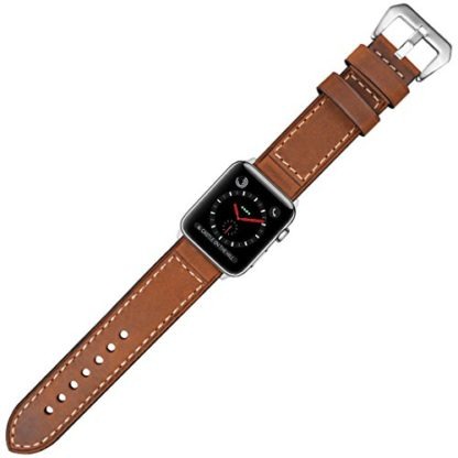 Wolait Compatible with Apple Watch Series 4, Handcrafed Genuine Calf Leather Sports Band for Apple Watch Series 4/3/2/1(38mm/40mm Brown) 7