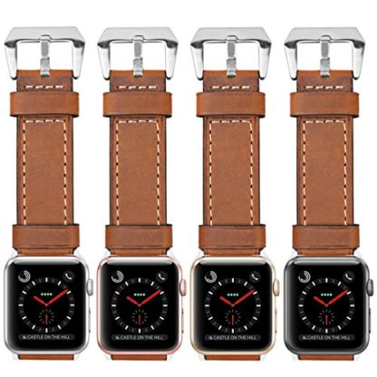 Wolait Compatible with Apple Watch Series 4, Handcrafed Genuine Calf Leather Sports Band for Apple Watch Series 4/3/2/1(38mm/40mm Brown) 8