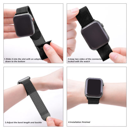 Wolait Compatible with Watch Band 38mm 40mm 42mm 44mm, Stainless Steel Mesh with Adjustable Magnetic Closure for iWatch Series 4 Series 3 Series 2 Series 1 (Black, 42mm/44mm) 3