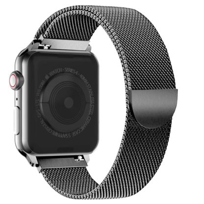 Wolait Compatible with Watch Band 38mm 40mm 42mm 44mm, Stainless Steel Mesh with Adjustable Magnetic Closure for iWatch Series 4 Series 3 Series 2 Series 1 (Black, 42mm/44mm) 1