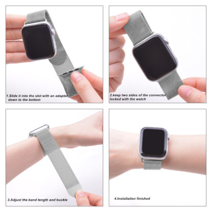 Wolait Compatible with Watch Band 38mm 40mm 42mm 44mm, Stainless Steel Mesh with Adjustable Magnetic Closure for iWatch Series 4 Series 3 Series 2 Series 1 (Silver, 38mm/40mm) 3