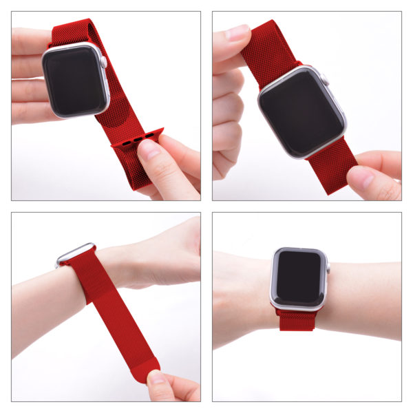 Wolait Compatible with Watch Band 38mm 40mm 42mm 44mm, Stainless Steel Mesh with Adjustable Magnetic Closure for iWatch Series 4 Series 3 Series 2 Series 1 (Red, 38mm/40mm) 3